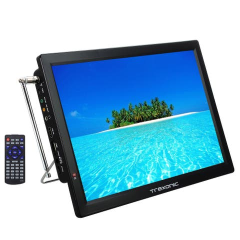 Trexonic 14in Portable Rechargeable LED TV with Wire Stand Rest