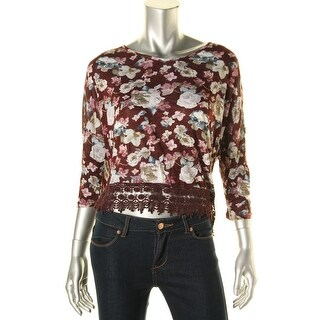 Freshman Womens Juniors Pullover Top Crochet Trim Floral Print - XL