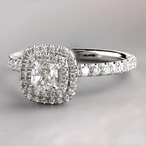 Auriya Platinum 1 3/4ctw Cushion-cut Halo Diamond Engagement Ring Certified
