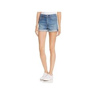 Levi Strauss & Co. Womens Denim Shorts Fringe Whisker Wash - 28
