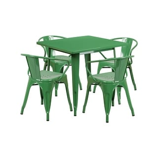 "Offex 31.5"" Square Green Metal Indoor Table Set with 4 Arm Chairs [OF-ET-CT002-4-70-GN-GG]"