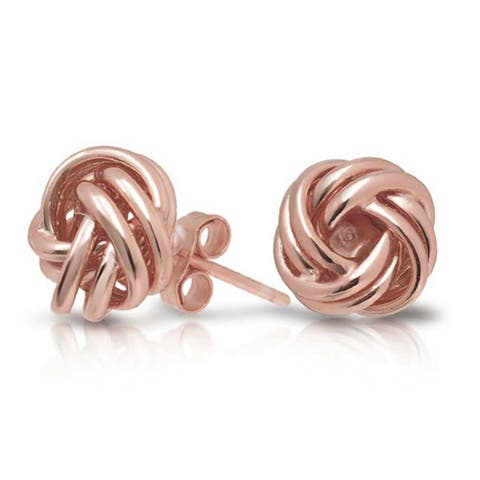 Woven Twisted Rope Love Knot Stud Earrings For Women Rose Gold Plated 925 Sterling Silver