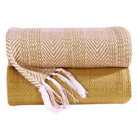 100% Cotton All Season Throw Blankets Herringbone 50''x 60'' Set of 2