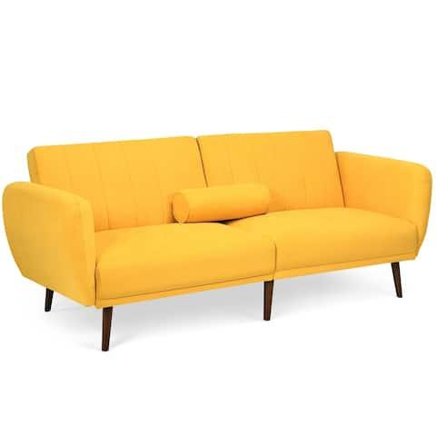 Gymax Modern Sofa Bed Convertible Futon Sofa w/ 3-Level Adjustable - 82.5'' x 34'' x 32''