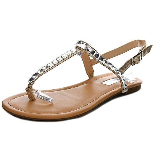 INC International Concepts Montawk Women Open Toe Synthetic Gold Thong Sandal