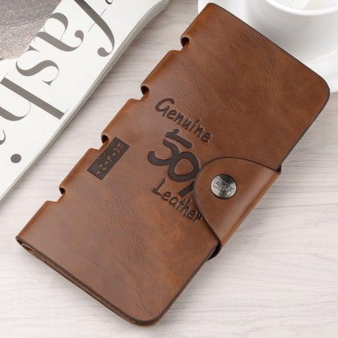 Retro Men'S Long Leather Wallet