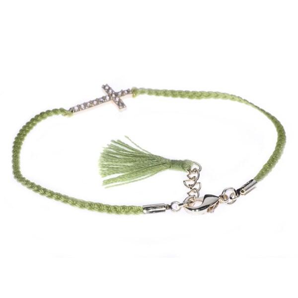 Green String-A-Thing Cross Pendant Bracelet
