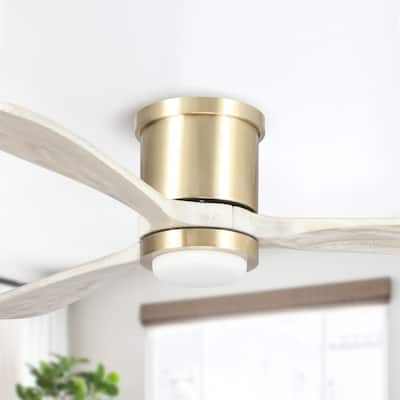 """52-in Low Profile Wood 3-Blade LED Ceiling Fan with Remote Control - 52"""" x 10"""""""