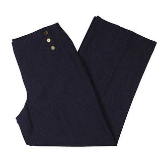 Link to Anne Klein Womens Dress Pants Pleated Button-Detail - Eclipse/Black Similar Items in Pants