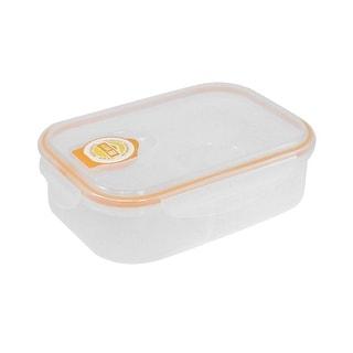 Unique Bargains School Canteen Plastic Dual Compartments Microwave Food Storage Lunch Box Orange