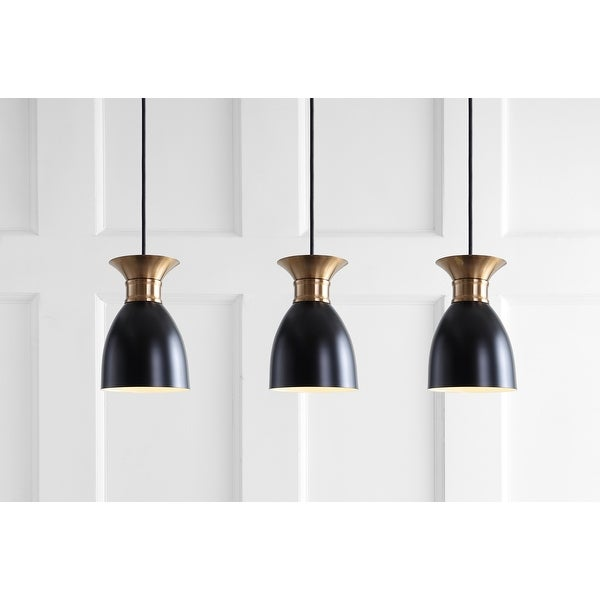 Edison Linear Metal LED Cluster Pendant, Black/Gold by JONATHAN Y. Opens flyout.