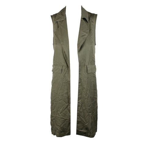 Bar Iii Olive Open-Front Notched-Collar Utility Vest XXS
