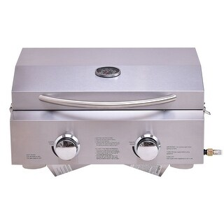 Costway 2 Burner Portable BBQ Table Top Propane Gas Grill Stainless Steel - as pic