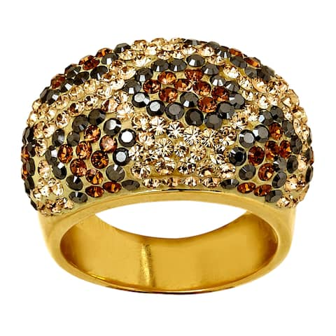 Crystaluxe Leopard Dome Ring with Swarovski Crystals in 18K Gold-Plated Sterling Silver