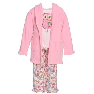 Sol Sleep Little Girls Pink Owl Print Long Sleeve Robe Pajamas 3 Pc Set