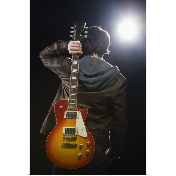 """""""Man with guitar in spotlight"""" Poster Print"""