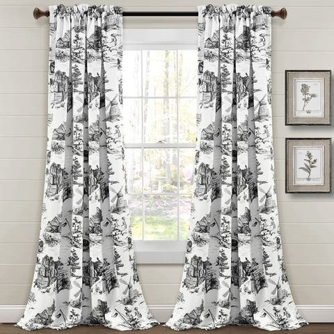 Lush Decor French Country Toile Room Darkening Window Curtain Panel Pair