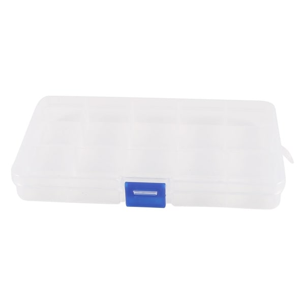 Unique Bargains Clear White 15 Slots Plastic Electronic Component Storage Box Case Box
