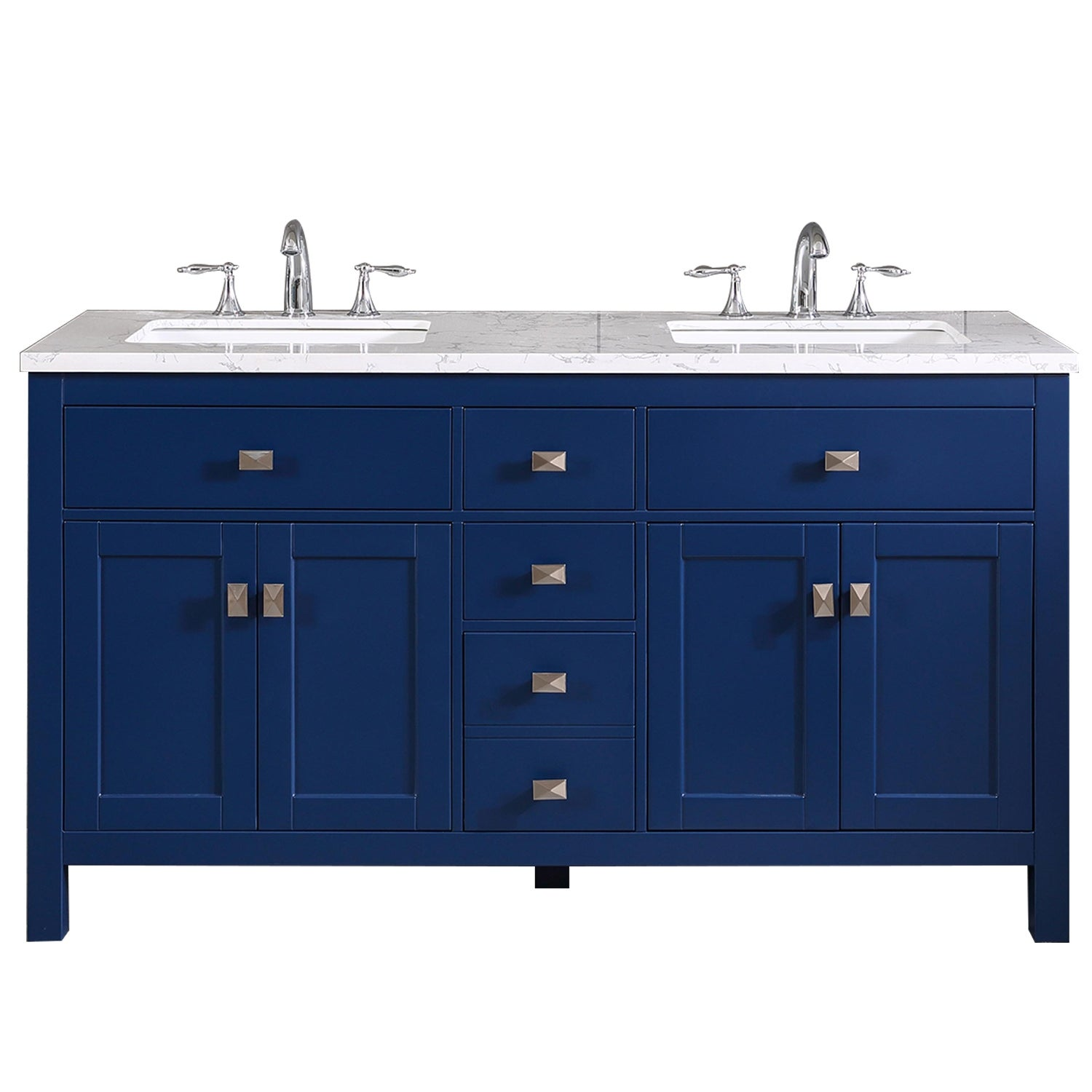 Totti Memphis 60 Blue Transitional Double Sink Bathroom Vanity W White Carrara Style Man Made Stone Top Overstock 32352432