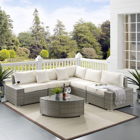 Outdoor 6 Pieces Patio Furniture Set with Cushions and Glass Table, Rattan Wicker Sectional Sofa Set