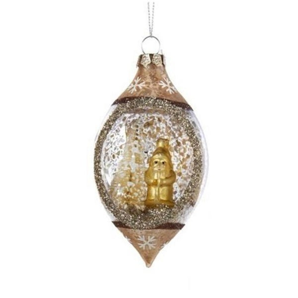 "4.75"" Luxury Lodge Santa and Tree Mercury Glass Style Finial Christmas Ornament"