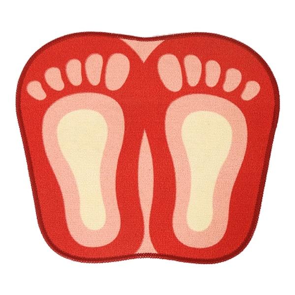 Cartoon Foot Shape Ground Floor Foot Mat Antiskid - red