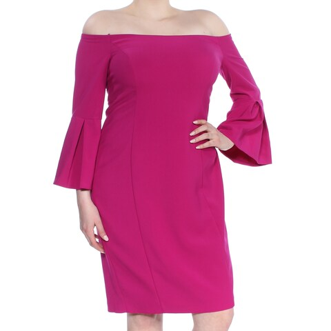 VINCE CAMUTO Womens Pink Bell Sleeve Off Shoulder Knee Length Formal Dress Size: 16