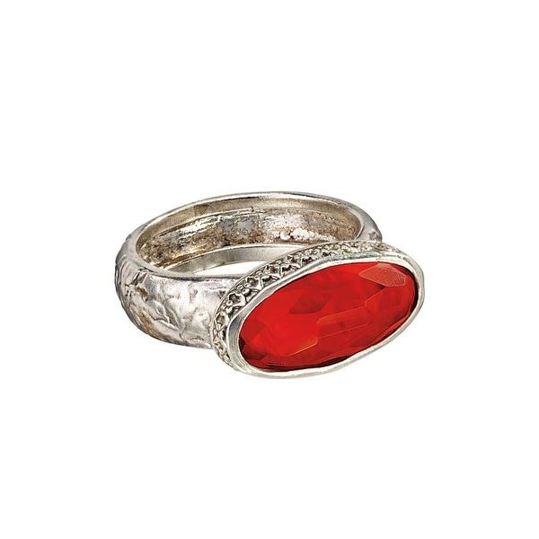 Women's Ellipse Red Carnelian Sterling Silver Ring