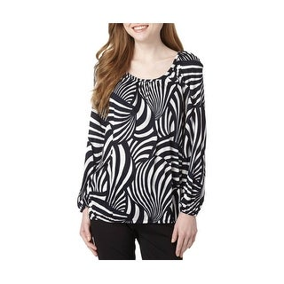 Michael Michael Kors Printed Three Quarter Sleeve Peasant Shirt Top - L