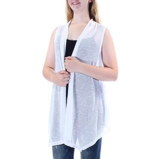 ALFANI $60 Womens New 1146 White Open Cardigan Sleeveless Vest Sweater 0MM B+B