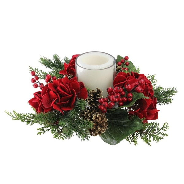 """15"""" Artificial Mixed Pine and Red Hydrangea Decorative Wreath Pillar Candle Holder"""