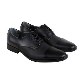 Calvin Klein Roberto Mens Black Leather Casual Dress Lace Up Oxfords Shoes