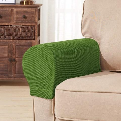 Subrtex 2PCS Stretch Armrest Slipcover Textured Mini Dots Cover