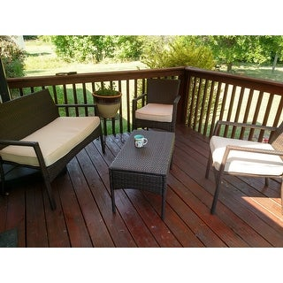 Cancun Outdoor 4-pc. Cushioned Wicker Chat Set by Christopher Knight Home