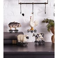 """Pack of 8 Ivory White and Black Distressed Finished Animal Ornaments 4"""""""