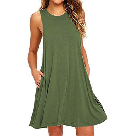 0786ec3729 Summer Beach Dresses For Women Tank Top Bikini Swimwear Cover Up Plain  Pleated Loose