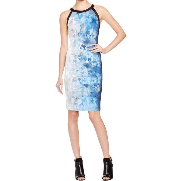 T Tahari Womens Carly Wear to Work Dress Contrast Trim Scuba