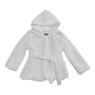 Girls Off-White Scale Faux Fur Belted Hooded Faux Fur Jacket