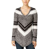 Ultra Flirt Womens Juniors Tunic Sweater Striped V-Neck