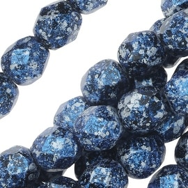 Czech Fire Polished Glass, Faceted Round Beads 6mm, 25 Pieces, Tweedy Blue