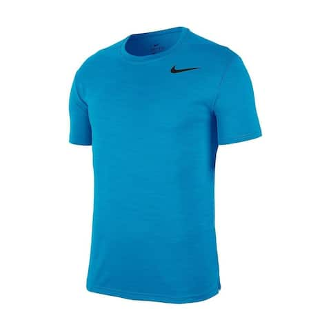 Nike Mens Activewear Tops Blue Size Large L Dri-Fit Wicking Short Sleeve