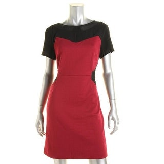 Greylin Womens Colorblock Short Sleeves Cocktail Dress - M