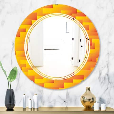 Designart 'Retro Square Design VIII' Modern Round or Oval Wall Mirror - Triple C