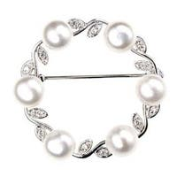 Bling Jewelry 925 Sterling Silver Freshwater Cultured Pearl Leaf Circle Brooch Pin