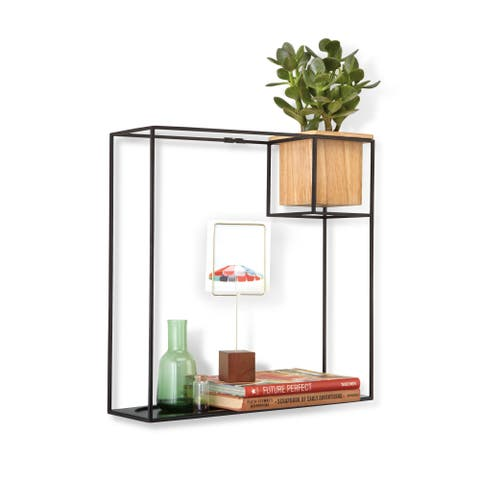 "Umbra 470754 Cubist 15"" Tall Steel Wall Shelf with Beech Wood Planter by Erika Kovesdi - Natural / Black"