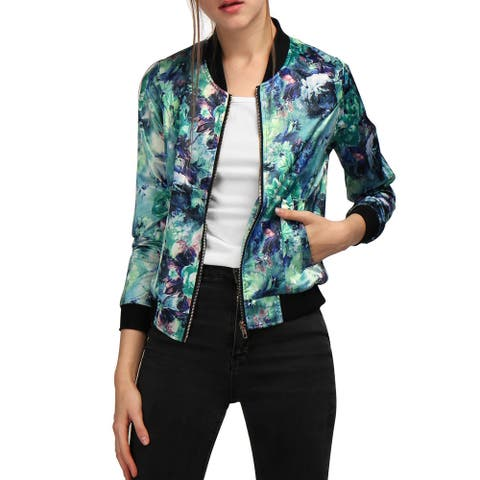 Unique Bargains Women Stand Collar Zip Up Floral Prints Bomber Jacket
