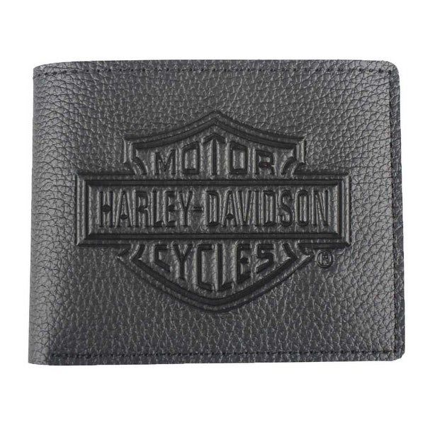 "Harley-Davidson Men's Embossed B&S Logo Leather Billfold Wallet XML3554-BLACK - 4.25"" x 3.375"""