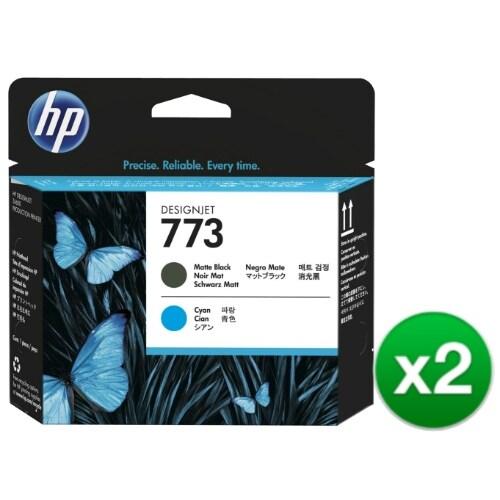 HP 773 Matte Black & Cyan DesignJet Printhead (C1Q20A) (2-Pack)
