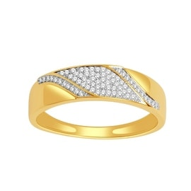 Diamond Wedding Band 0.17cttw in 10K Yellow Gold 6mm Wide Mens(0.17 cttw)