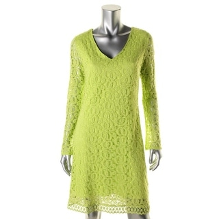 Laundry by Shelli Segal Womens Crochet Long Sleeves Cocktail Dress - 8